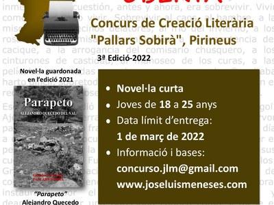 """Concurs Literari """"Pallars Sobirà"""" 3ª edició"""